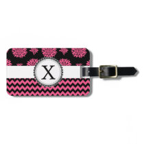 Pink and Black, Flowers and Chevron Luggage Tag