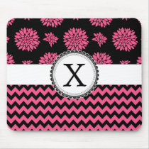 Pink and Black, Flowers and Chevron Mouse Pad