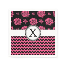 Pink and Black, Flowers and Chevron Paper Napkin