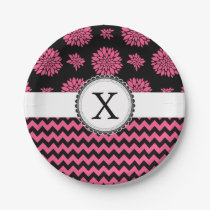 Pink and Black, Flowers and Chevron Paper Plate
