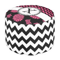 Pink and Black, Flowers and Chevron Pouf