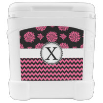 Pink and Black, Flowers and Chevron Rolling Cooler
