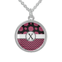 Pink and Black, Flowers and Chevron Sterling Silver Necklace