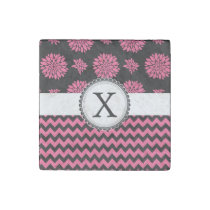Pink and Black, Flowers and Chevron Stone Magnet