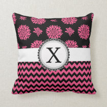 Pink and Black, Flowers and Chevron Throw Pillow