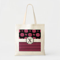 Pink and Black, Flowers and Chevron Tote Bag