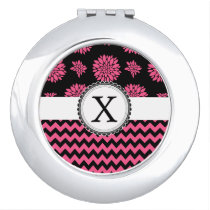 Pink and Black, Flowers and Chevron Vanity Mirror