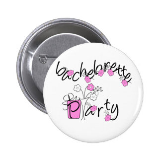 Pink and Black Flowers Bachelorette Party Pinback Button