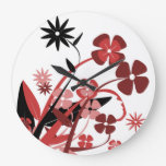 PINK AND BLACK FLOWERS LARGE CLOCK