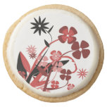 PINK AND BLACK FLOWERS ROUND SHORTBREAD COOKIE