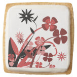 PINK AND BLACK FLOWERS SQUARE SHORTBREAD COOKIE