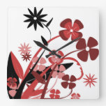 PINK AND BLACK FLOWERS SQUARE WALL CLOCK