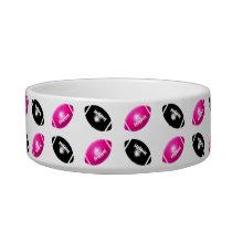 Pink and Black Football Pattern Bowl