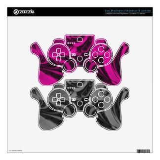 Pink and black fractal PS3 controller skin