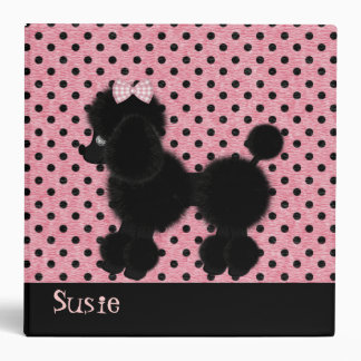 Pink and Black French Poodle Binder