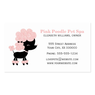Pink and Black French Poodle Double-Sided Standard Business Cards (Pack Of 100)