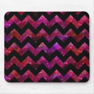 Pink and Black Galaxy Chevron Mouse Pad