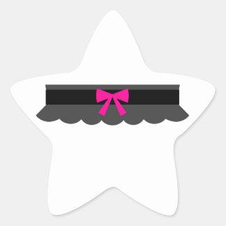 Pink and Black Garter Belt Star Sticker