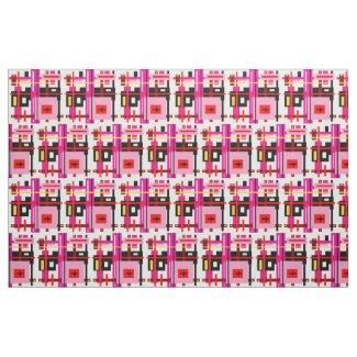 Pink and Black Geometric Design Fabric
