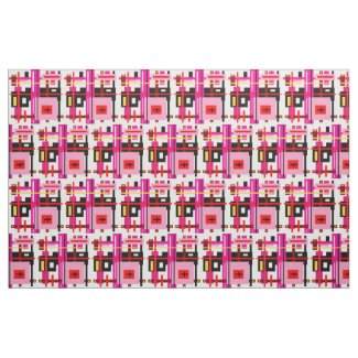 Pink and Black Geometric Design Fabric