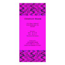 Pink and Black Geometric Waves Pattern Rack Card