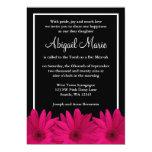 Pink and Black Gerbera Daisy Bat Mitzvah 5x7 Paper Invitation Card