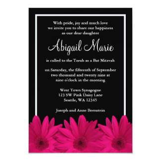 Pink and Black Gerbera Daisy Bat Mitzvah Card