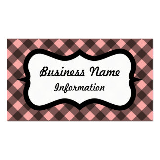 Pink and Black Gingham Business Card