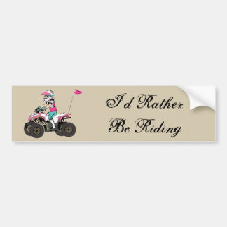Pink and Black Girl ATV Rider Car Bumper Sticker