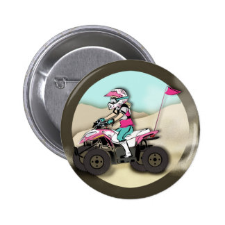 Pink and Black Girl ATV Rider Buttons