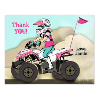 Pink and Black Girl ATV Rider Custom Invitation