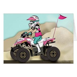 Pink and Black Girl ATV Rider Greeting Card