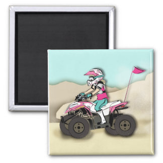 Pink and Black Girl ATV Rider Magnets