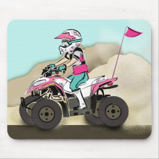 Pink and Black Girl ATV Rider Mouse Pad