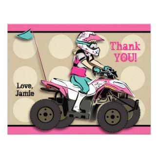 Pink and Black Girl ATV Rider Note Card Custom Invitation