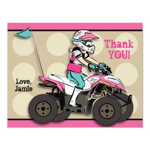 "Pink and Black Girl ATV Rider Note Card 4.25"" X 5.5"" Invitation Card"