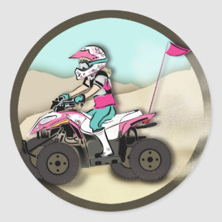 Pink and Black Girl ATV Rider Sticker