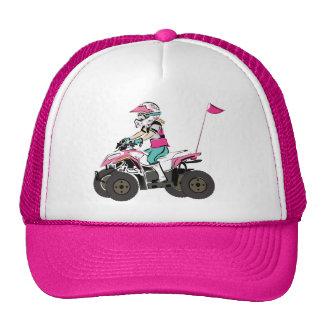 Pink and Black Girl ATV Rider Trucker Hats