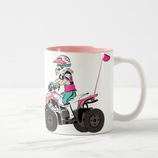 Pink and Black Girl ATV Rider Two-Tone Coffee Mug