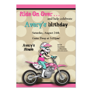 Pink and Black Girl Dirt Bike Rider Personalized Invitation