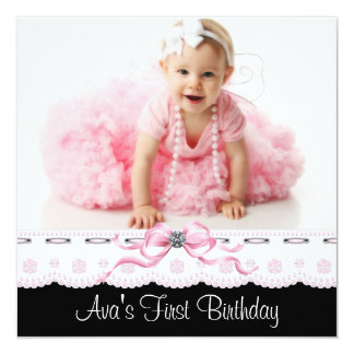 Pink and Black Girls Photo Birthday Party 5.25x5.25 Square Paper Invitation Card