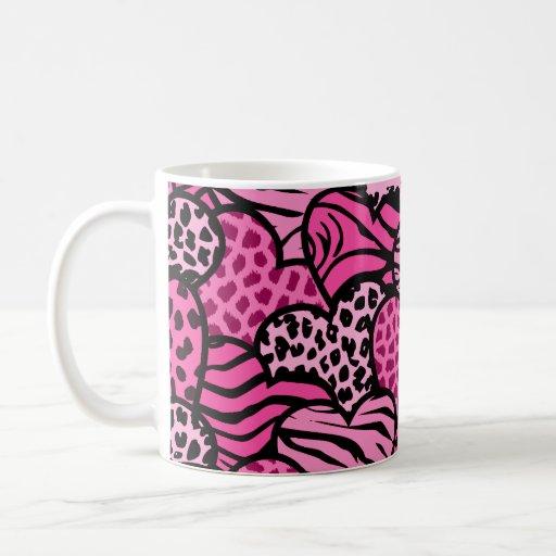 Pink and black girly animal print hearts coffee mug