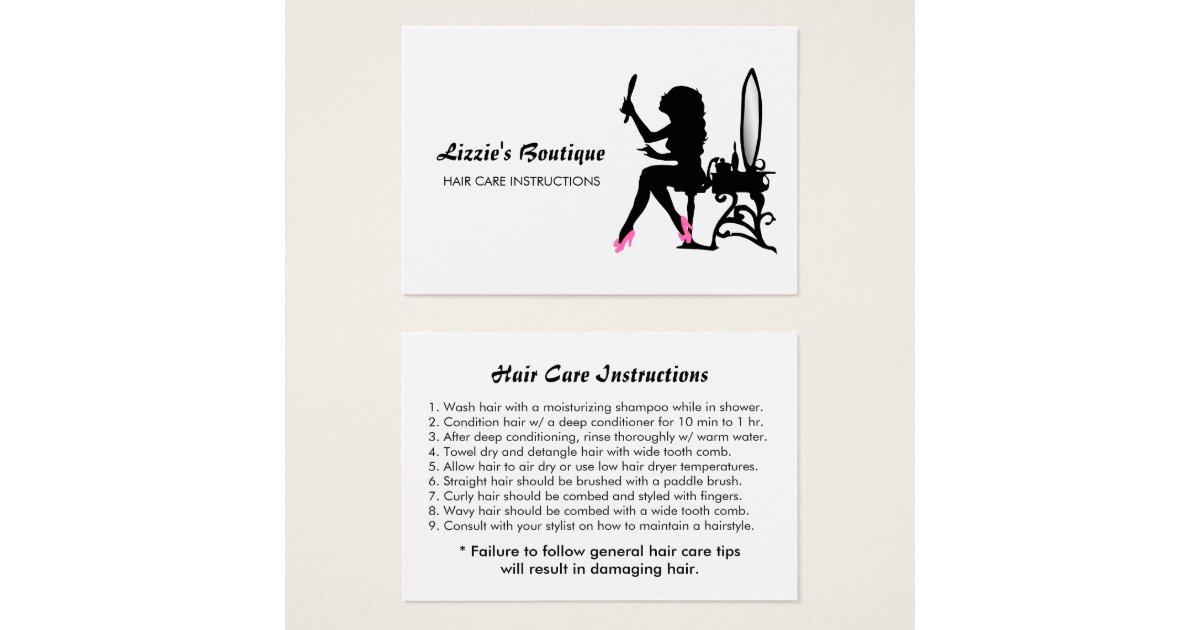 Pink and Black Girly Girl Hair Care Instructions Business Card ...