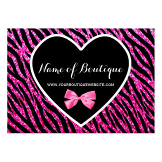 Pink and Black Glam Zebra Glitter Boutique Large Business Cards (Pack Of 100)
