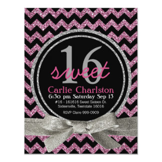 Pink and Black Glitter Look Chevron Sweet 16 Party Card