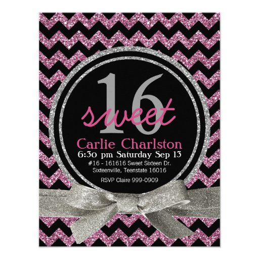 Pink and Black Glitter Look Chevron Sweet 16 Party Custom Announcement