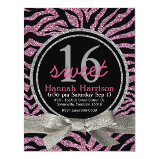 Pink and Black Glitter Look Zebra Sweet 16 Party 4.25x5.5 Paper Invitation Card