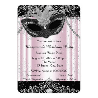 Pink and Black Glitter Masquerade Party Card