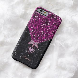 Pink and Black Glitters iPhone 6 Case