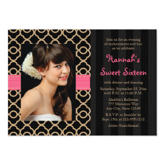 """Pink and Black Gold Moroccan Sweet Sixteen Photo 5"""" X 7"""" Invitation Card"""